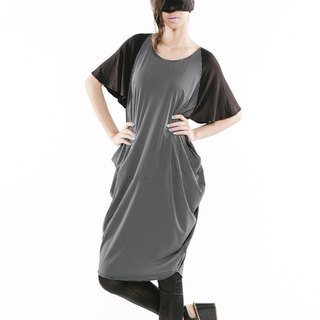 [] Ruffled Dress drape dress < little black / gray color x2 >