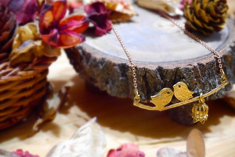 ❡ birds ㄦ brass necklace