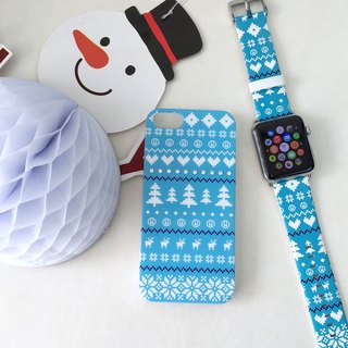 Xmas Gift Packaging Apple Watch Blue Cute Christmas Winter Pattern iPhone Case