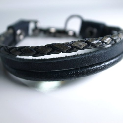 US and European multi-level selection tricyclic personalized leather bracelet hand-made leather in New York