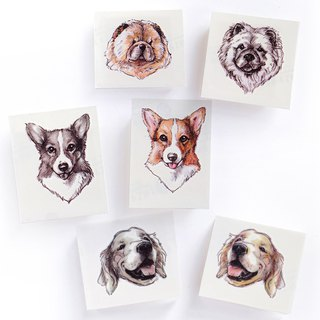 Animal Temporary Tattoo Stickers Pet Puppy Dog Corgi Golden Retriever Chow Chow