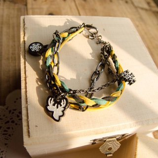 ❅ lonely season snowflakes thoughts ❅ yellow-black braided rope bracelet with multi-level
