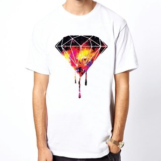 DRIPPING DIAMOND-Galaxy Short Sleeve T-Shirt - White Diamond Bloody Milky Way Cosmic Design