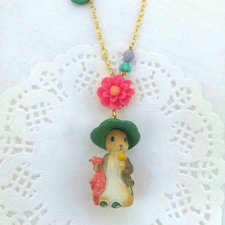 Forest animal friends a long chain - rabbit in the hat lady (pink flowers children) (anti-allergy necklace)