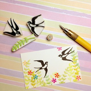Apu handmade rubber stamp elegant swallow 2 group