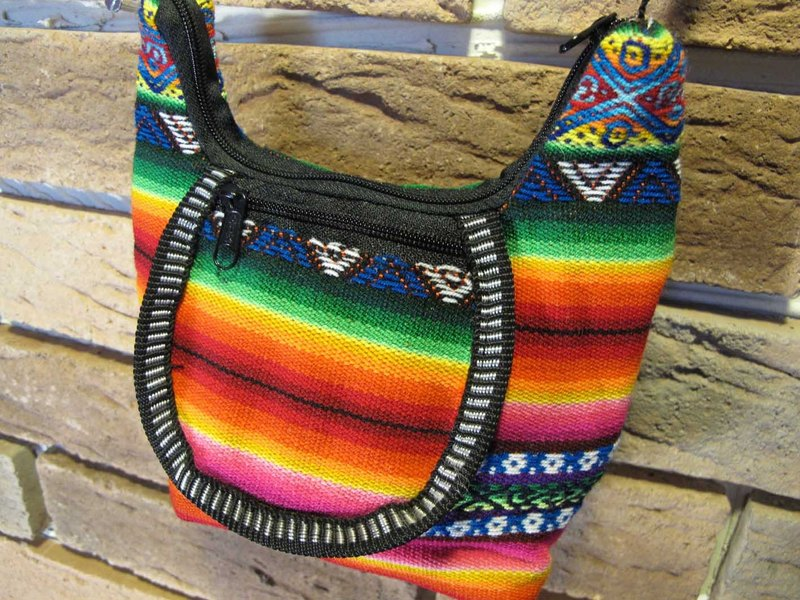 Peru color weaving side carry bag - orange color