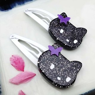 Butterfly Cat, tick clip, small side clip, bangs clamp - black