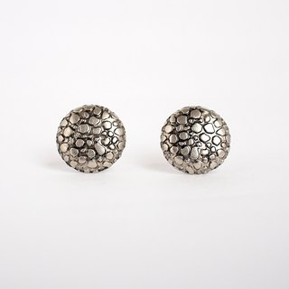 Circle dot Silver Cracked Stainless Steel Stud Earrings 0161