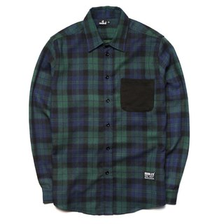 Doodles dark green grid Flannel shirts