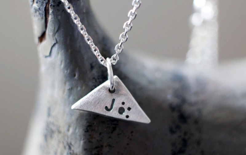 Qiaozi Sterling Silver - custom necklace letters & numbers - scalene triangle (mini)