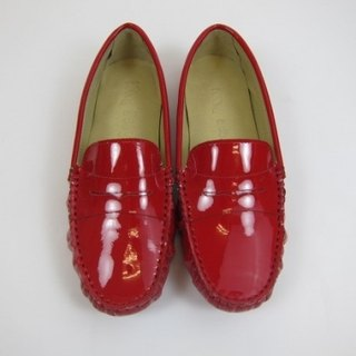 Fort Tony Wang handmade leather shoes (female) [patent leather / bean bottom / red]