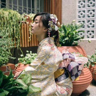 Hana Saku [zu ma late fretwork] bloom. Filled | Japanese wind flower yukata kimono cloth flowers hairpin hair ornaments handmade creation
