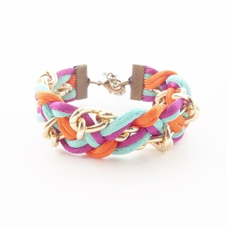 Orange, mint and fuchsia pink briaded bracelet with gold chain.