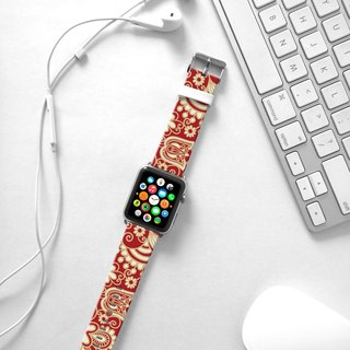 Apple Watch Series 1 , Series 2, Series 3 - Red Golden Floral pattern Watch Strap Band for Apple Watch / Apple Watch Sport - 38 mm / 42 mm avilable