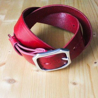 Chainloop handmade customizable size red leather leather belt