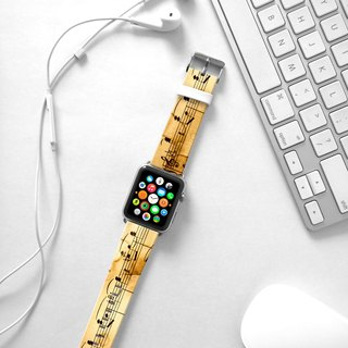 Apple Watch Series 1 , Series 2, Series 3 - Vintage music notes pattern Watch Strap Band for Apple Watch / Apple Watch Sport - 38 mm / 42 mm avilable