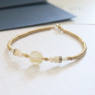 Gold crystal natural stone pearl brass bracelet (1058 years)