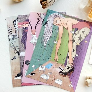 {Atelier Hanu} painted illustration fairy tale series card / postcard ◆ A set of four