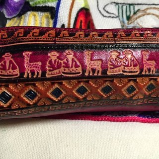 Peru dyeing leather handle bag totem glove powder