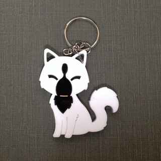 I love the zoo - black and white cat acrylic keychain