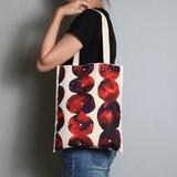 手繪手印 胚布提袋【石堆花】單面圖案 手提/肩背 紫紅/黃綠