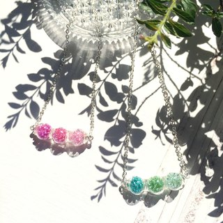 * Haku‧Neko * Mr.Bean tricolor edamame pink glass bead necklace (clavicle chain)