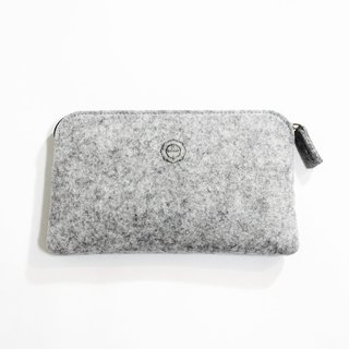 Simple and functional multi-functional wool felt clutch bag / stone grain light gray ash can be used as pen bag, mobile phone storage bag, cosmetic bag, passport bag