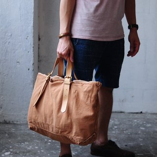 Handmade Washed Out Leather And Canvas Tote Bag/ Shoulder Bag/ Travelling Bag