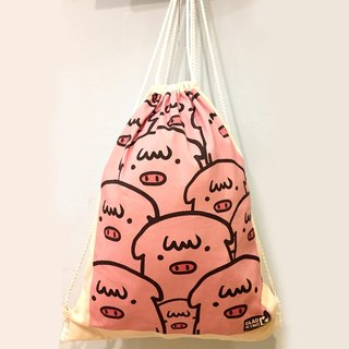Full version QQ pig canvas back / shopping bag / bag / carry bag / green paper / canvas type / gift / shoulder /