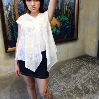 ❖ Post Free Shipping! ⊕ Hin Refreshing burning flowers hem irregular T (cloud white / warm orange)