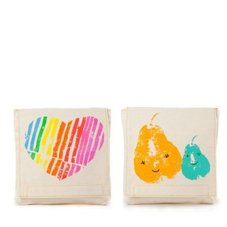 Fluf organic cotton small bag (a group of two into) - I love you + big pear with small pear