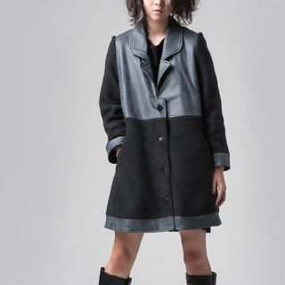 【COAT】 cashmere stitching long coat