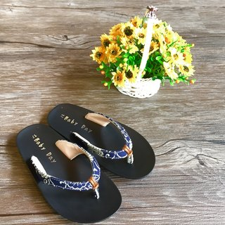 """Baby Day"" texture wind flops (Kid paragraph) elegant blue slippers paternity shoes"