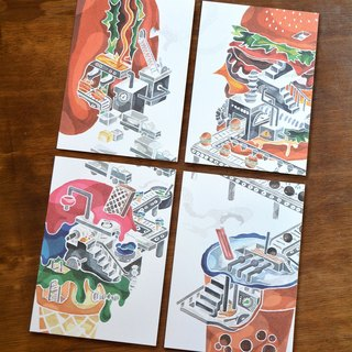 [Investigation of food material science illustration postcard] 4 set / card creative design a new generation of health care friend Design Award
