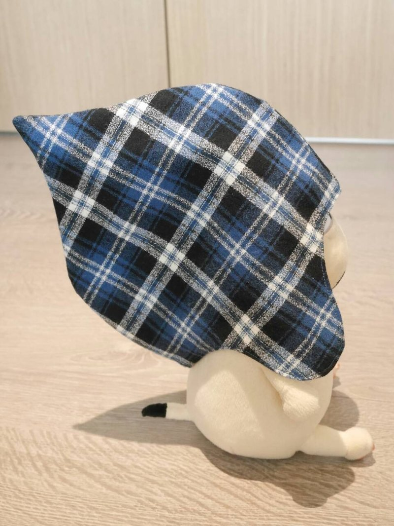 French classic blue grid baby hat
