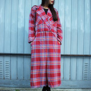 F1804 [American-made bids] (Vintage) vintage red plaid long-sleeved cotton dress [Made in USA]