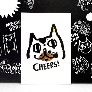 "Wanying Hsu cat down postcard ""CHEERS!"""