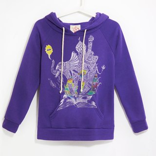 Hooded feel warm coat - Indian elephant (purple)