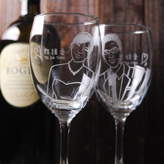 (One pair price) 270cc [MSA] hand-painted portrait of the cup (Realistic Version) LOVE Bride and groom engraving glass of red wine gift set of wine glasses to commemorate Valentine's Day wedding gift carved lettering glass custom