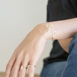 "【14 KGF】 Wire Bangle, Filigree ""C"""