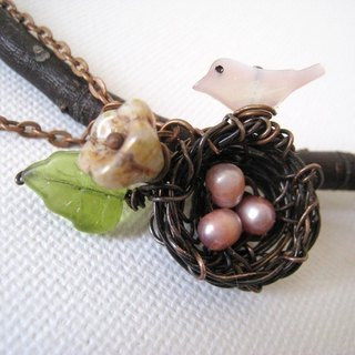 Mommy and me. Handmade copper bird nest and shell necklace