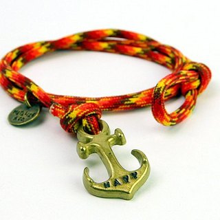 [METALIZE]Anchor with rope bracel three-circle umbrella rope bracelet - sea anchor section - red and yellow camouflage (bronze)