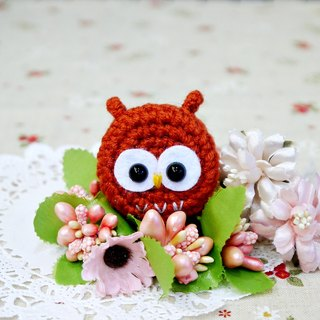 Owl - red brown. Telescopic pull ring. Document folder