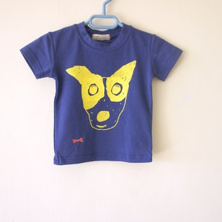 Draw a little kid happy ☆ masked Man / I Love Panda / Ding cat kids big bubble blue round neck elastic t-shirt