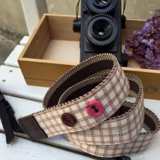 ﹝ Clare ﹞ brown line cloth hand-made camera strap buckle simple shape