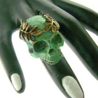 Patina Skull with leaf crown ring in brass with green patina color ,Rocker jewelry ,Skull jewelry,Biker jewelry