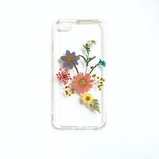 Rainbow flower pressed flower phone case