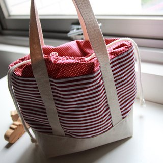 Lunch bag, Lunch tote, Camping picnic bags, Red Navy, Red Horizontal stripes