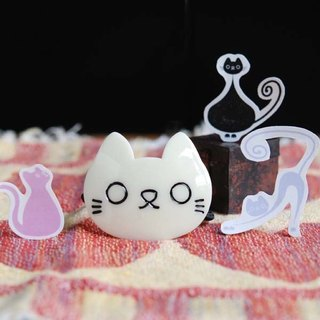 White, empty cat, hair bundle, hair circle, hair ornaments