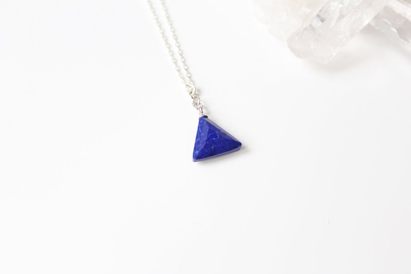 【SEPTEMBER 9-birthstone-Lapis lazuli】triangle sterling silver necklace